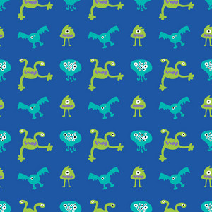 Green And Blue Monsters Pattern
