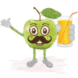 Green-apple Mustache