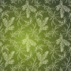 Green Background With Fir Mistletoe And Holly