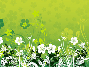 Green Background With Floral Pattern