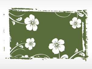 Green Background With White Bloom