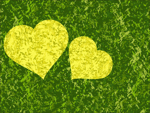 Green Background With Yellow Hearts