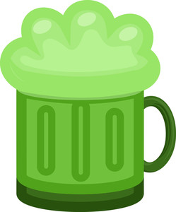 Green Beer Mug Cartoon Illustration On St. Patrick's Day