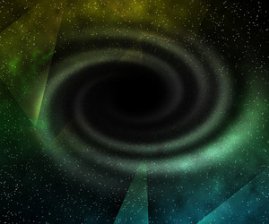 Green Black Hole In Space Background