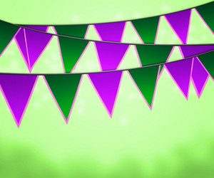 Green Carnival Flags Background