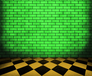 Green Chessboard Brick Interior Background