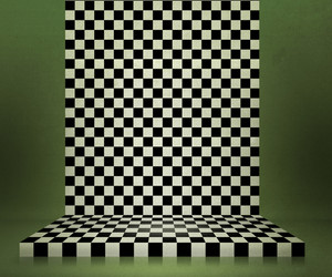 Green Chessboard Stage Room Background