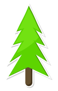 Green Christmas Tree Sticker Design