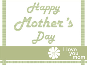 Green Color Mother Day Card With Sngle Floral