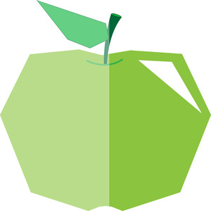 Green Cornered Apple Design