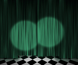 Green Curtain Spotlight Stage Background