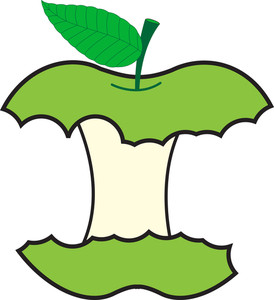 Green Eaten Apple Vector Design