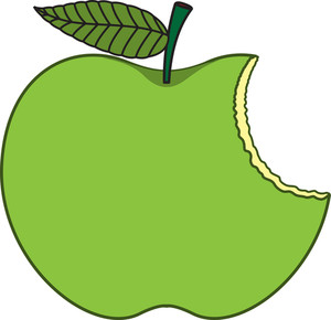 Green Eaten Apple