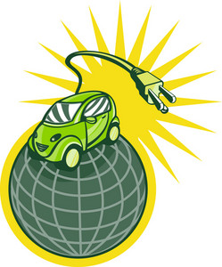 Green Electric Car On Top Of World With Plug