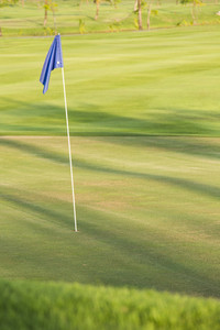 Green field golf with flag
