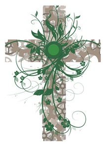 Green Floral Cross