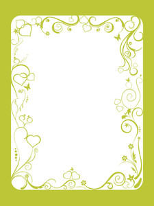 Green Frame With Floral And Hearts On White Background