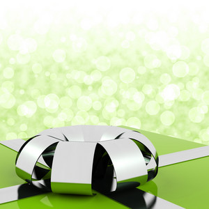 Green Giftbox With Bokeh Background For Mens Birthday