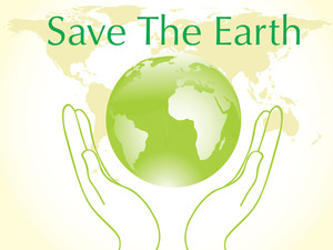 Green Globe Between Two Hands Environmental Protection Concept