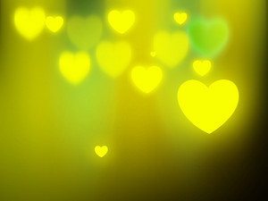 Green Glowy Hearts Background