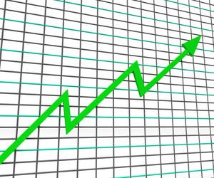 Green Graph Shows Profit Line