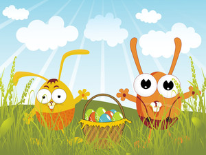 Green Grass Background With Colorful Egg In Basket