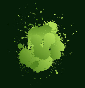 Green Grunge Spots - Vector Background