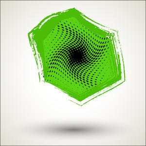Green Halftone Grunge Frame