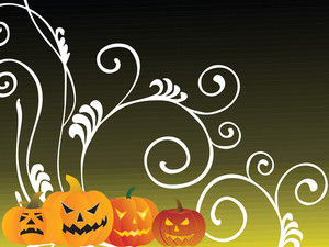 Green Halloween Background With Pumpkin And Floral