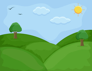 Green Hills - Cartoon Background Vector
