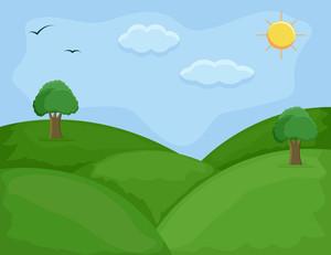 Green Hills - Cartoon Background Vector