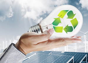 Green Light Bulb Environment Concept