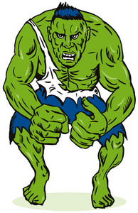 Green Man Flexing