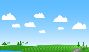 Green Meadow Vector Banner.
