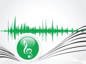 Green Music Icon With Waves On Gray Wallpaper