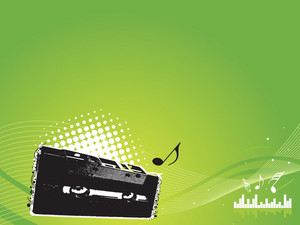 Green Musical Background With Audio Cassette Wallpaper