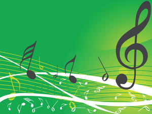 Green Musical Background With Different Notes
