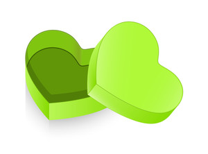 Green Open Heart Box