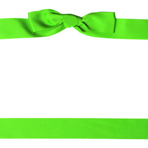 Green Ornamental Bow With Clipping Path