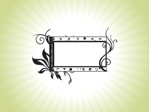 Green Ornate Flower Pattern Black Frame  On A White Background