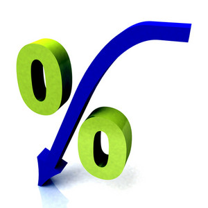 Green Percentage Symbol Shows Reduced Price