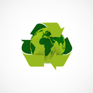 Green Planet Earth With Green Recycling Arrows