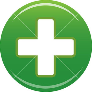 Green Plus Icon On White Background