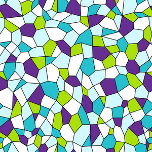 Green, Purple, White, And Blue Stained Glass Monster Pattern
