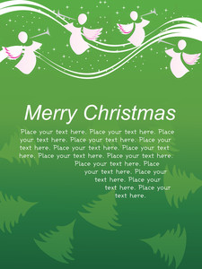 Green Retro Background Christmas Greeting