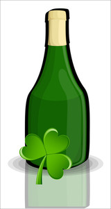 Green Retro Black Champaign Bottle With Clover Leaf