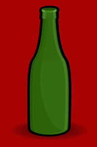 Green Retro Bottle Vector