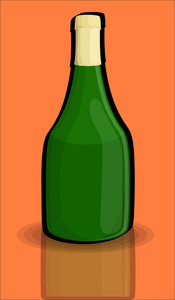 Green Retro Champaign Bottle Design Vector