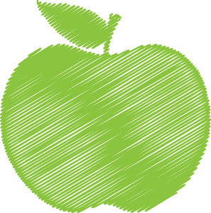 Green Scribble Apple