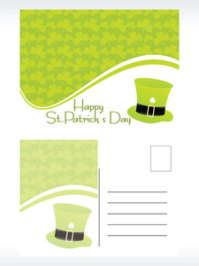 Green Shamrock Background Mailing Card